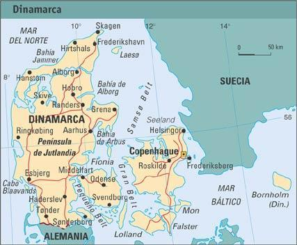 Mapa fisico de Dinamarca