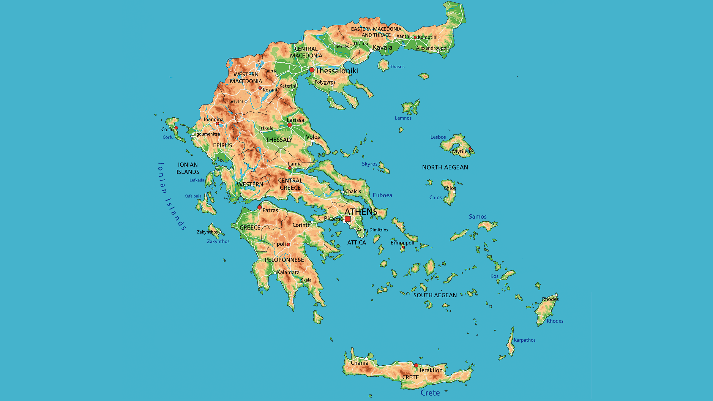 Mapa fisico de Grecia