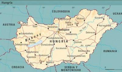 Mapa fisico de Hungria