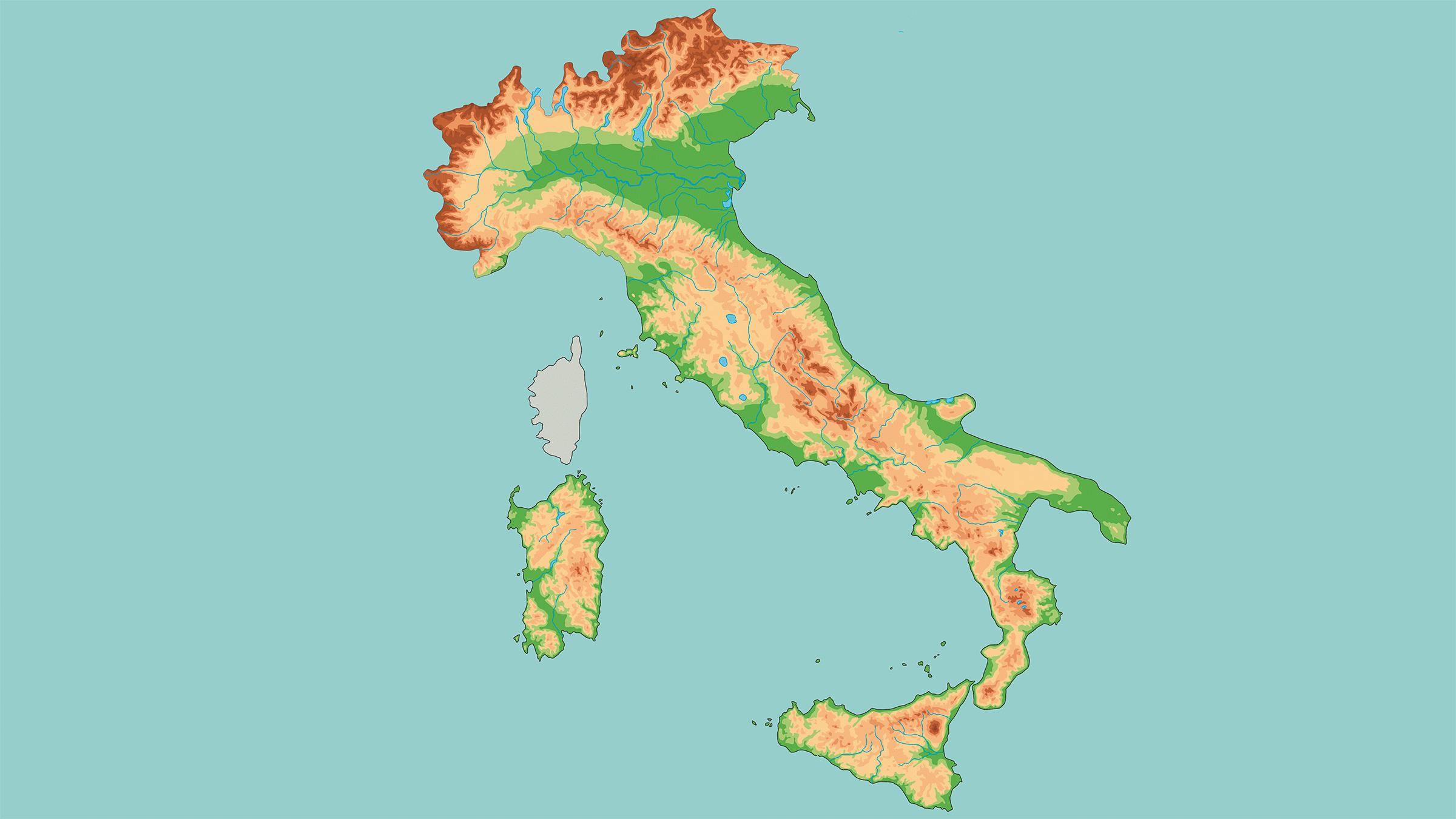 Mapa fisico de Italia