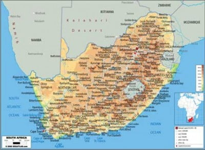 Mapa fisico de Sudafrica