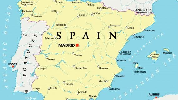 Mapa hidrográfico de Portugal y España