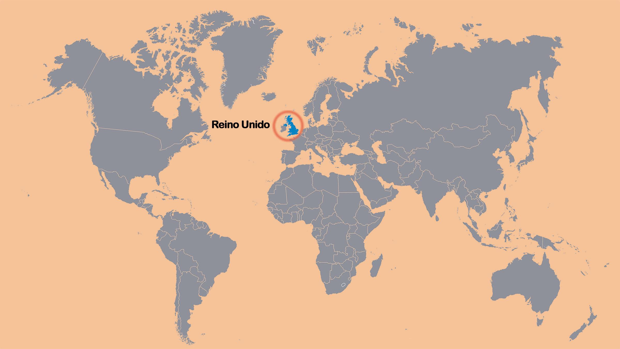 Mapa mundial señalando Reino Unido