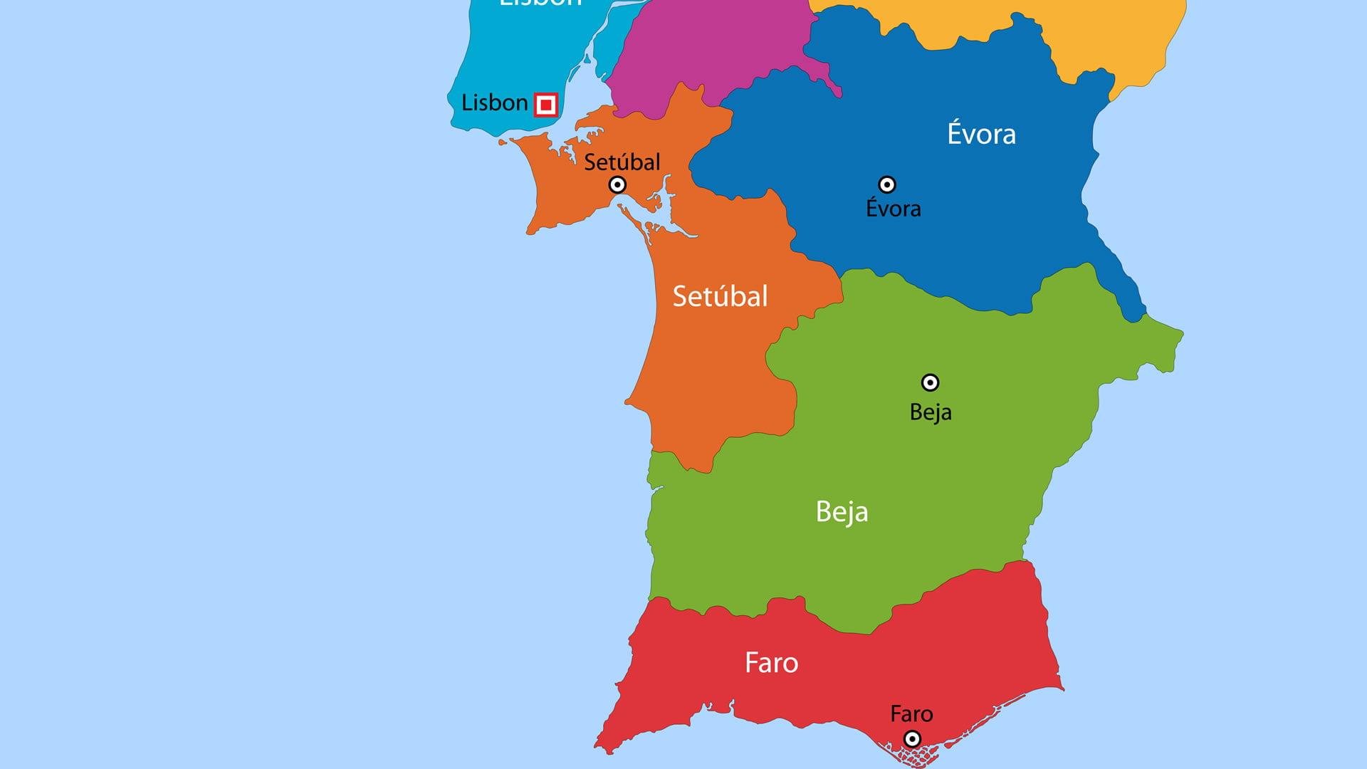Mapa político de Portugal: zona sur