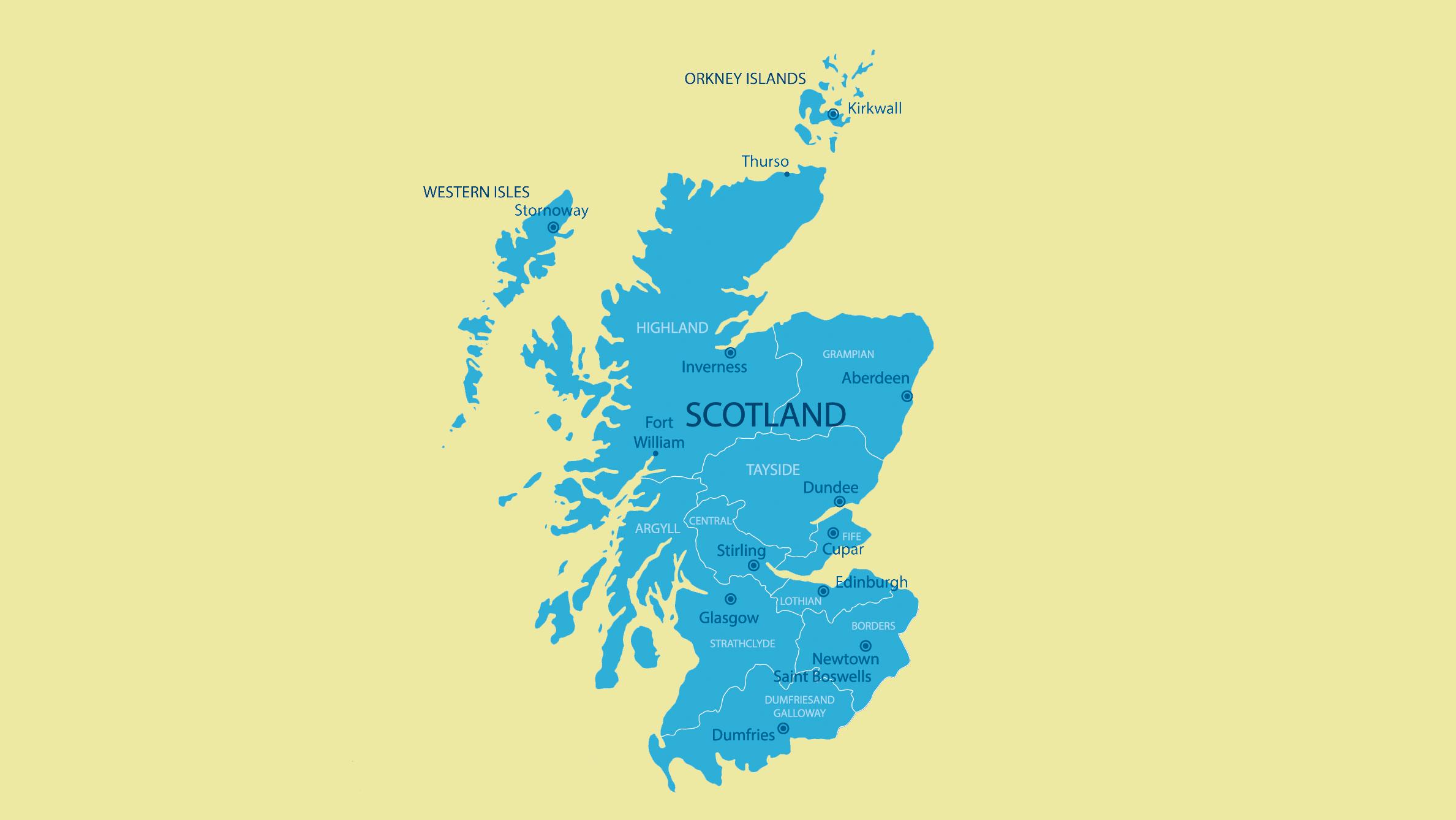Mapa politico de Escocia