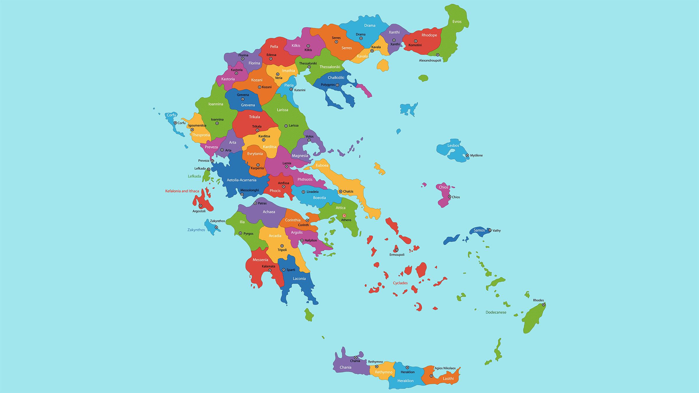 Mapa politico de Grecia