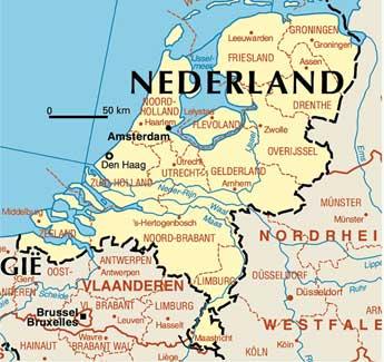 Mapa politico de Holanda