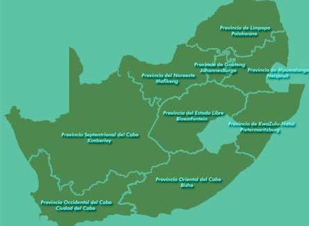 Mapa politico de Sudafrica