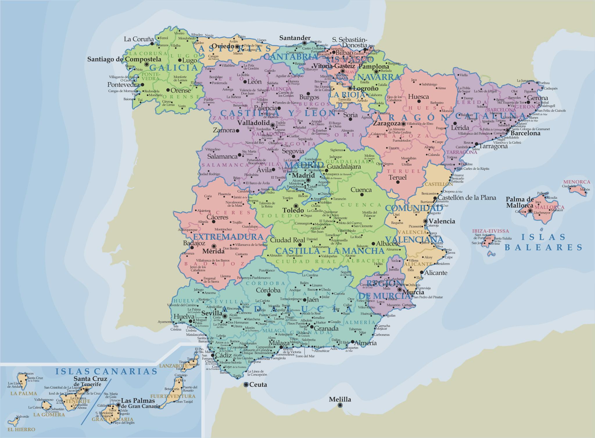 Mapas espa a - Viaje de novios espana ...