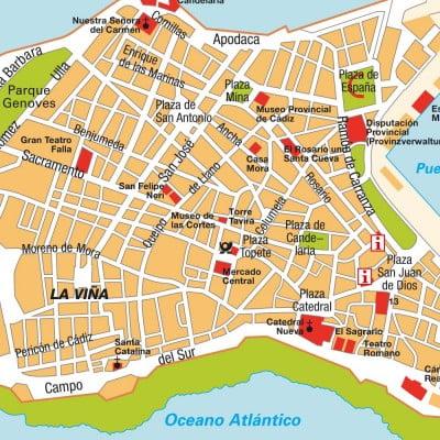 Mapa turístico de Cádiz