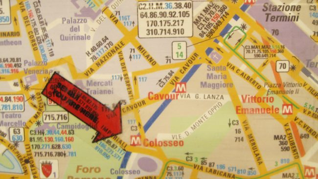 Extracto del mapa turístico de Roma