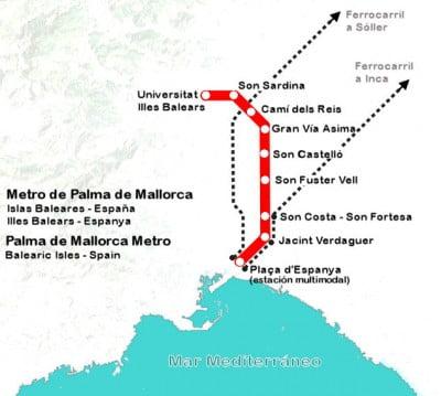 Plano del Metro de Palma