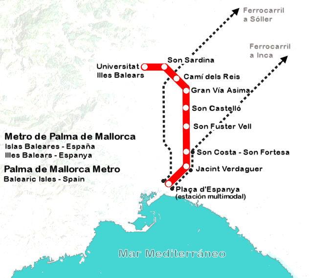 Viajando a Mallorca Moverse por Palma centro El Metro y los