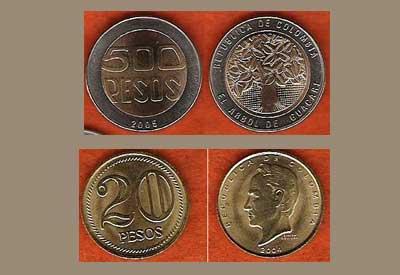Monedas de pesos colombianos