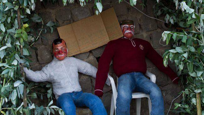 Montaje de año viejo en Ecuador