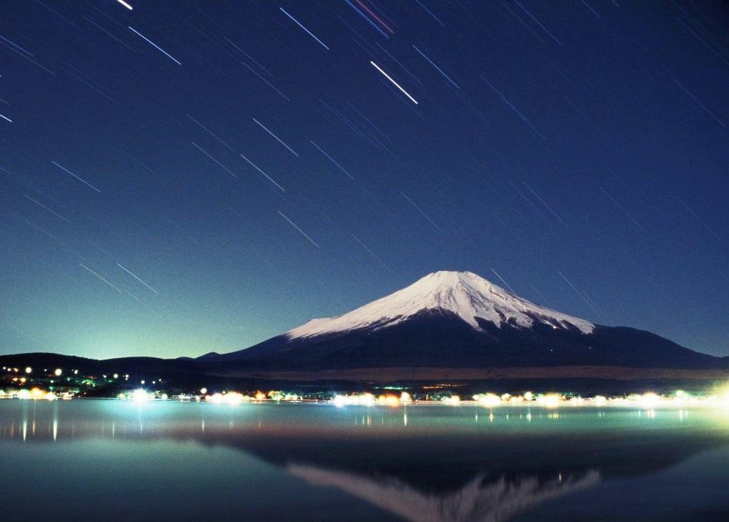 Monte Fuji de noche
