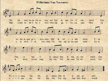 Partitura de Wilhelmus el Himno de Holanda