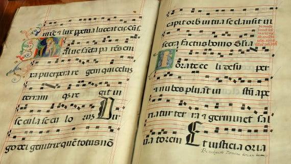 Partitura de una canción medieval