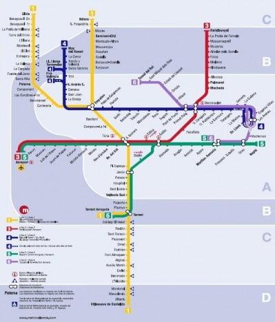 Plano Metro de Valencia