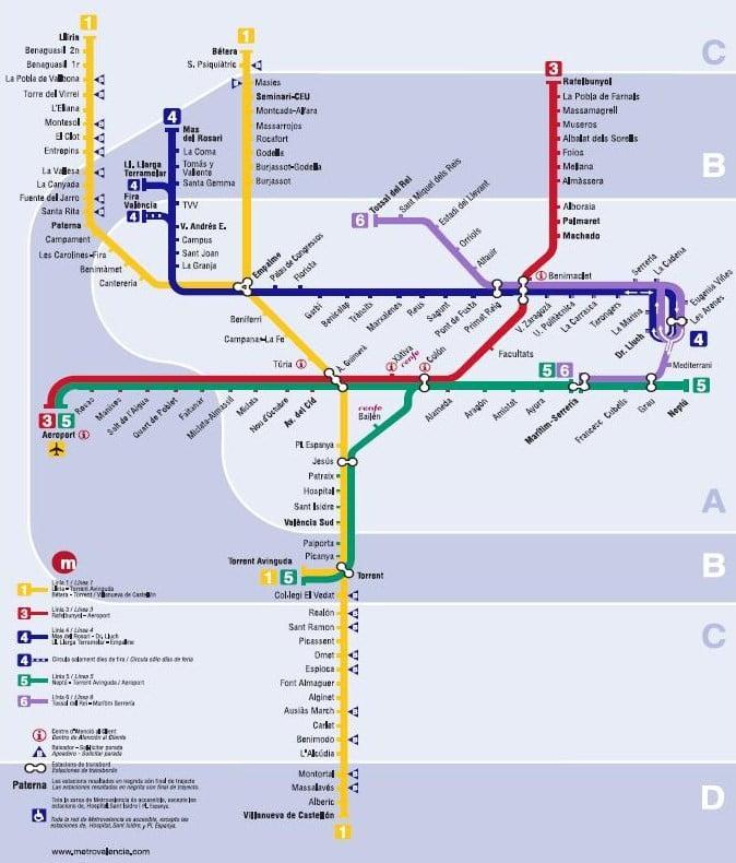 Mapa De Metro Valencia.Plano Metro De Valencia