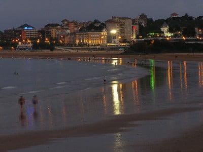 Playa el Sardinero de noche