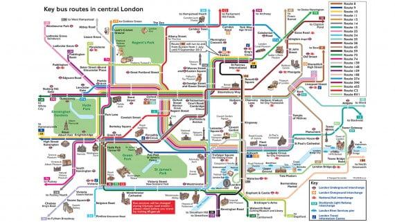 Principales rutas en autobús por Londres