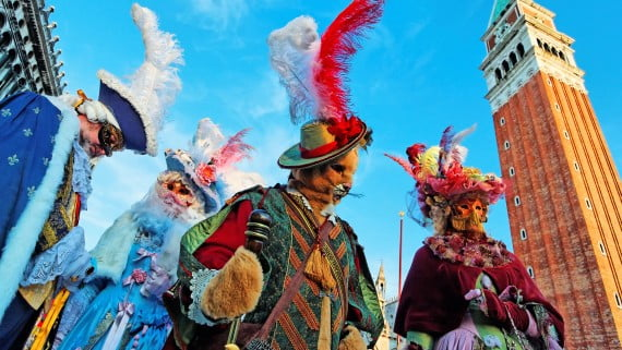 Typical costumes of the Venice Carnival in Piazza San Marco