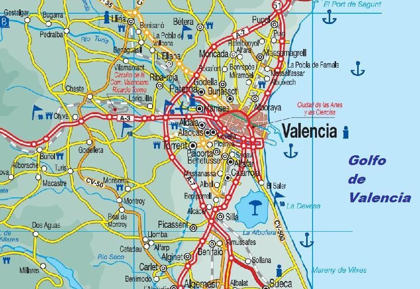 Mapa De La Ciudad De Valencia España.Mapa De Valencia
