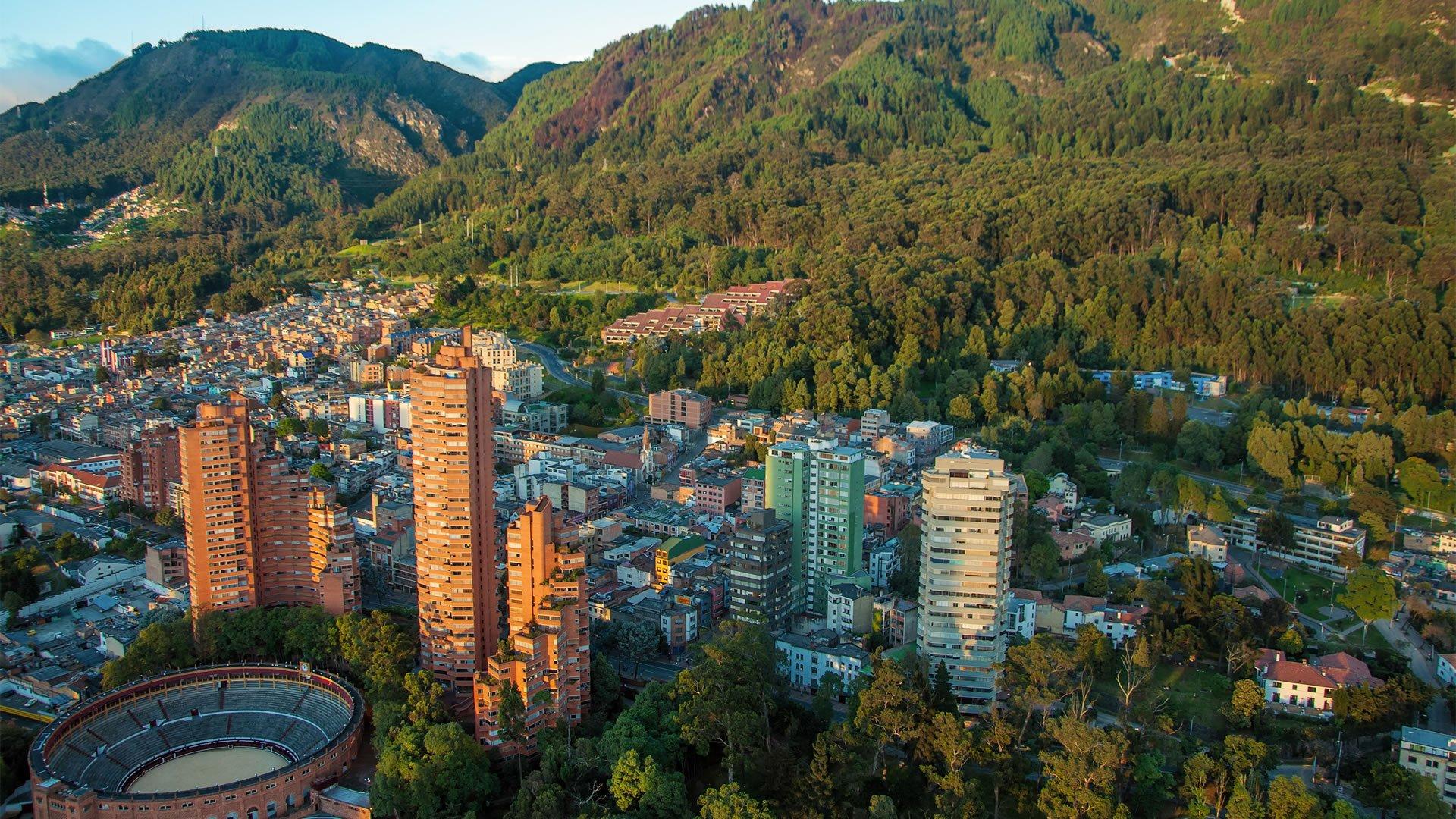 Vista aérea de Bogotá, la capital de Colombia