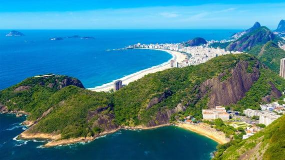 Vista aérea das praias de Botafogo, Copacabana e Ipanema, Río de Xaneiro, Brasil
