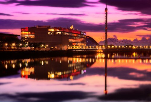 Vista noche de Glasgow