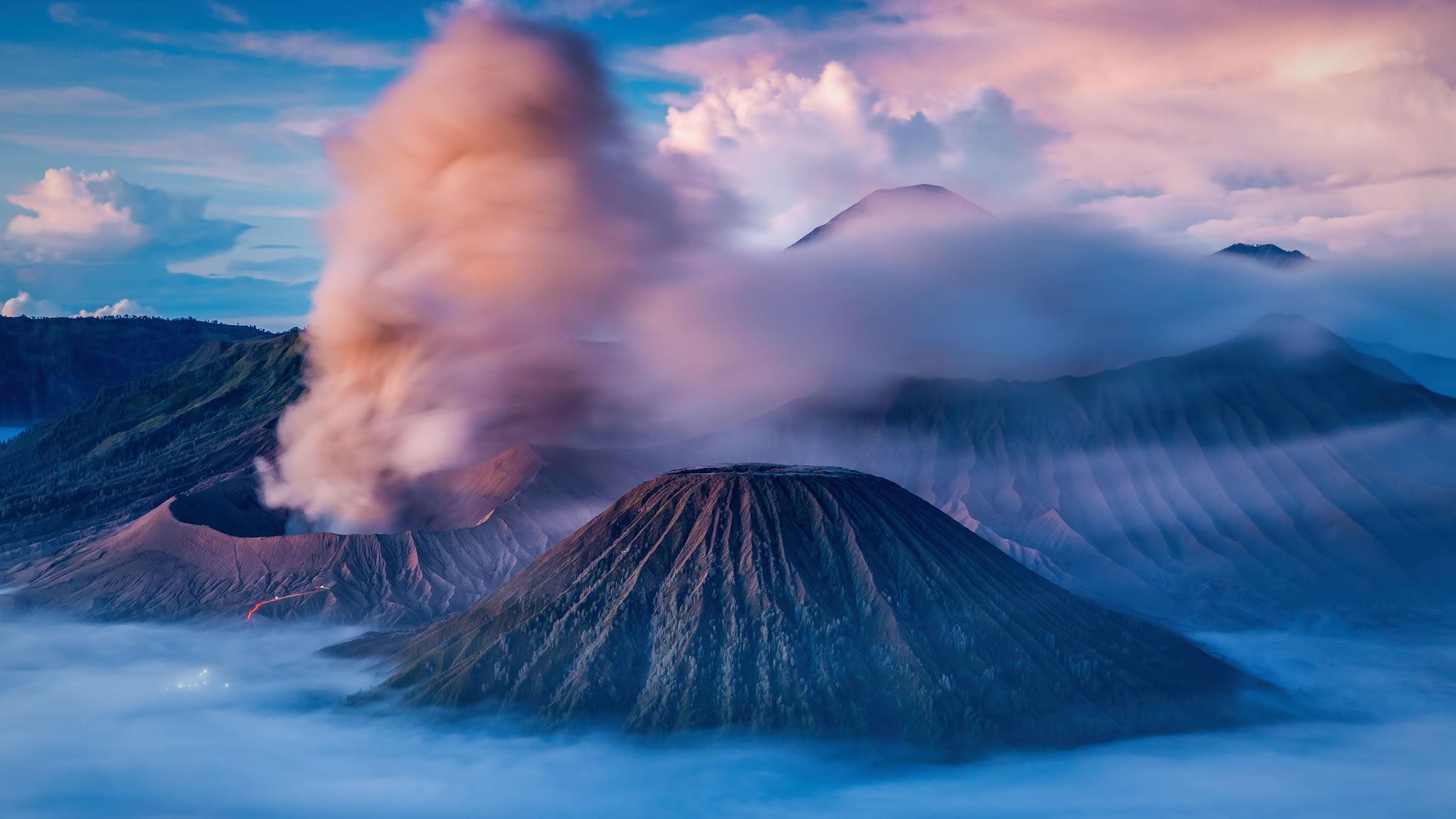 Volcanes de la isla de Java en Indonesia