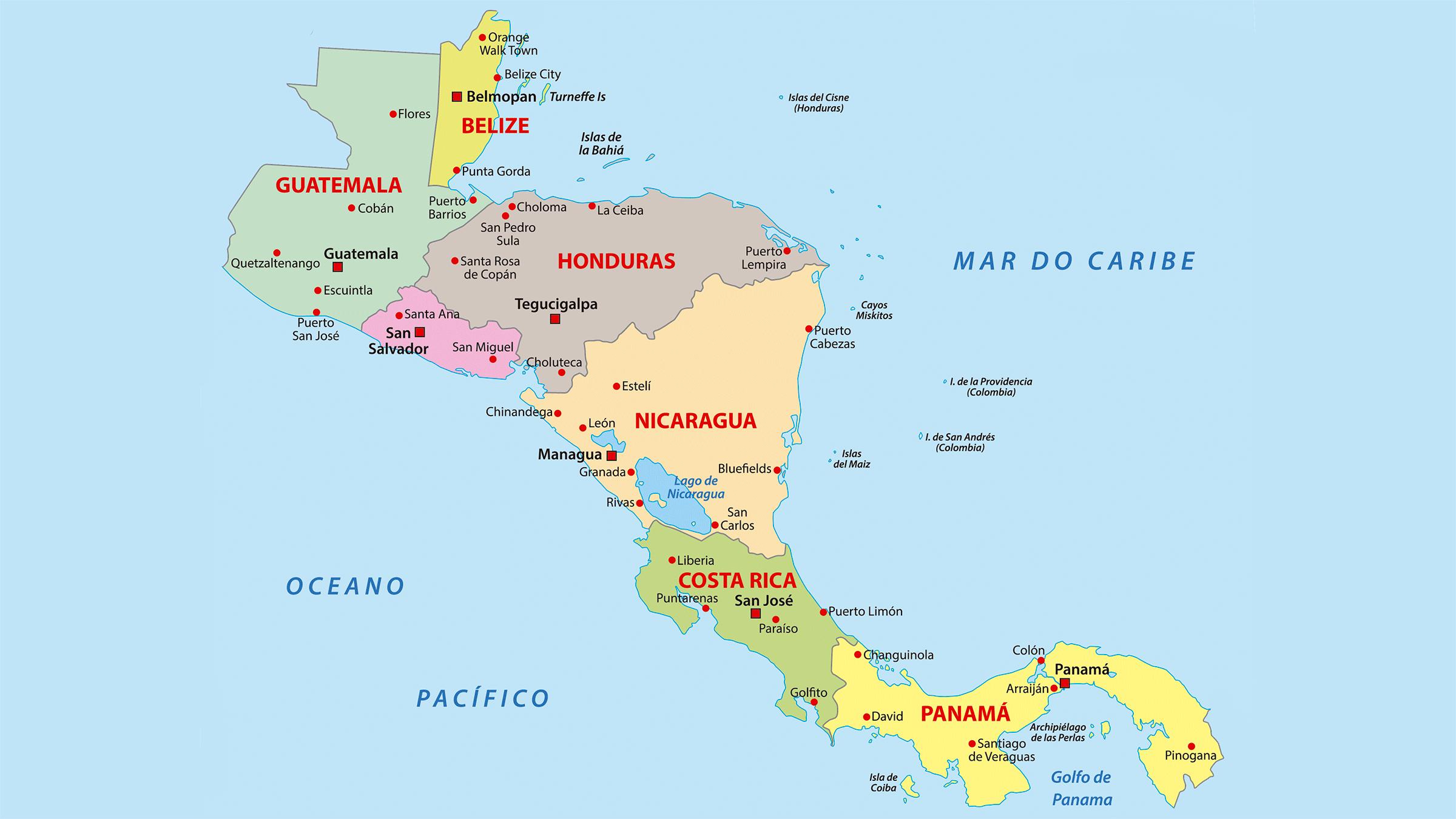 america central mapa