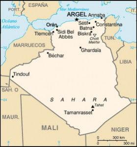 Argelia, mapa fronteras