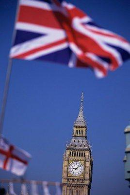 Bandera de Inglaterra con Big Ben