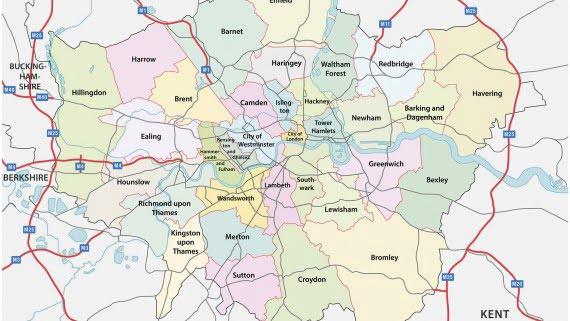 "Mapa de los barrios o ""boroughs"" de Londres"