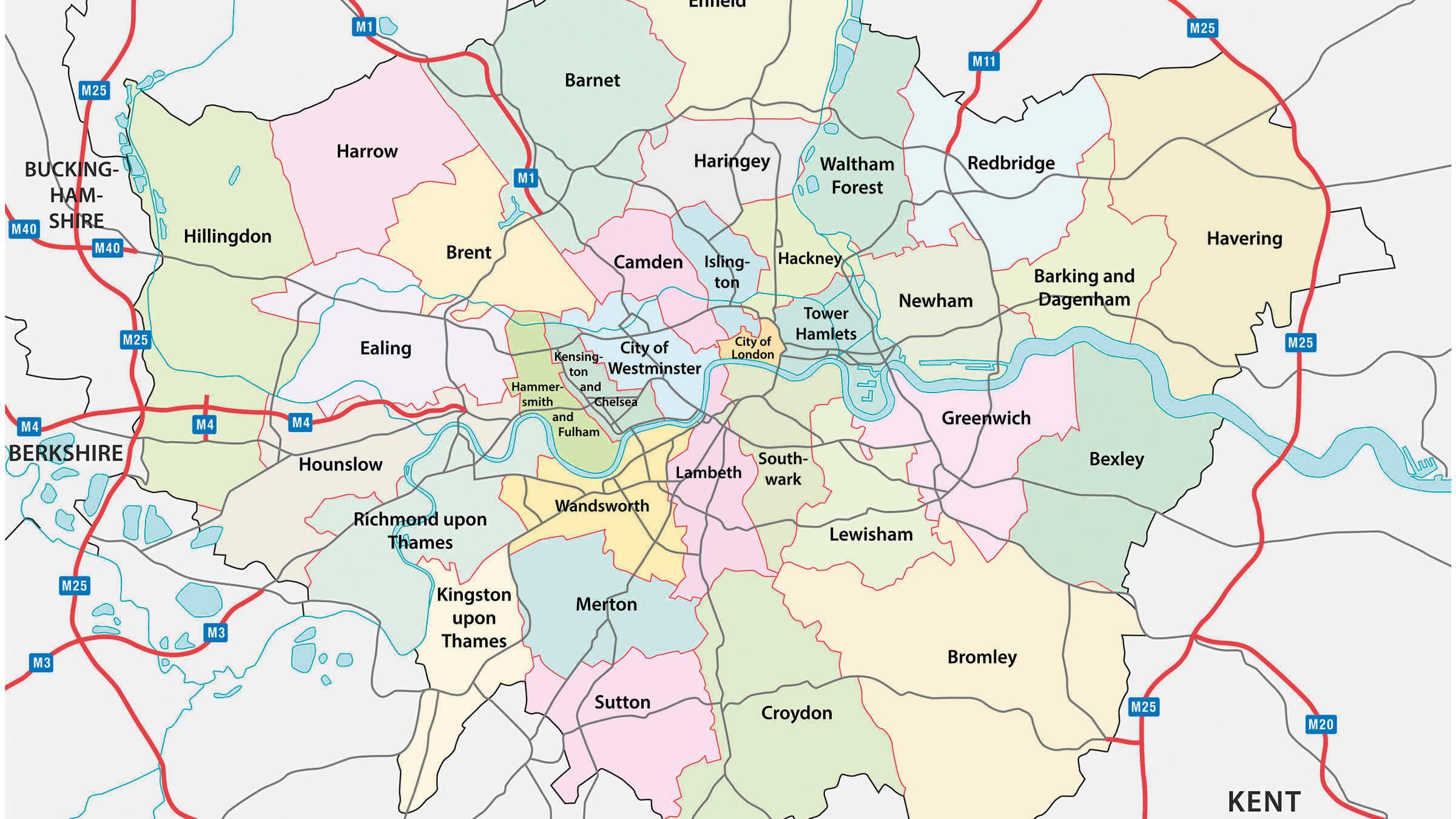 mapa satelite londres Mapa de los barrios o