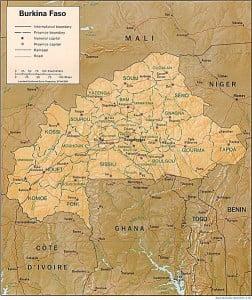 Burkina Faso, Mapa con fronteras