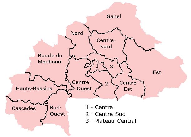 Burkina Faso, Mapa de regiones