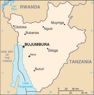 Burundi, mapa fronteras