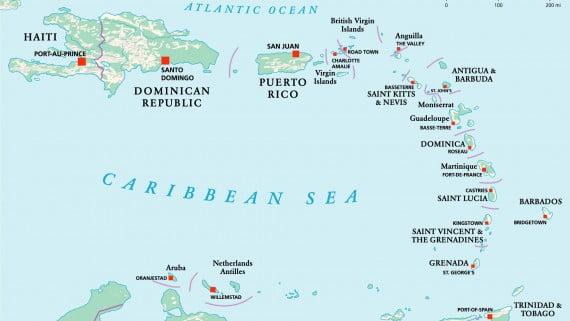 Mapa de América Central insular