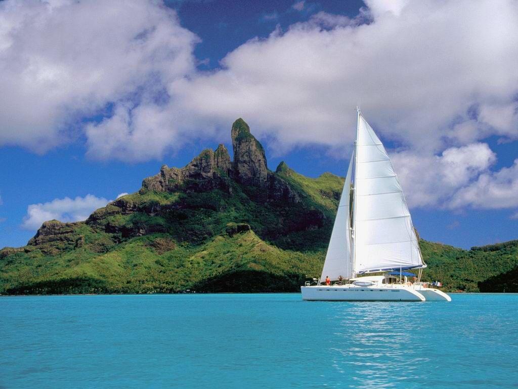 Catamarán en Bora Bora