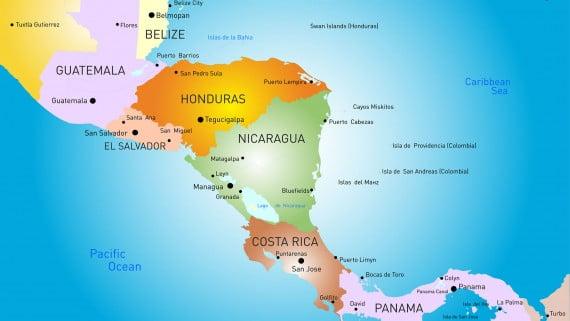 Mapa político de Centroamérica