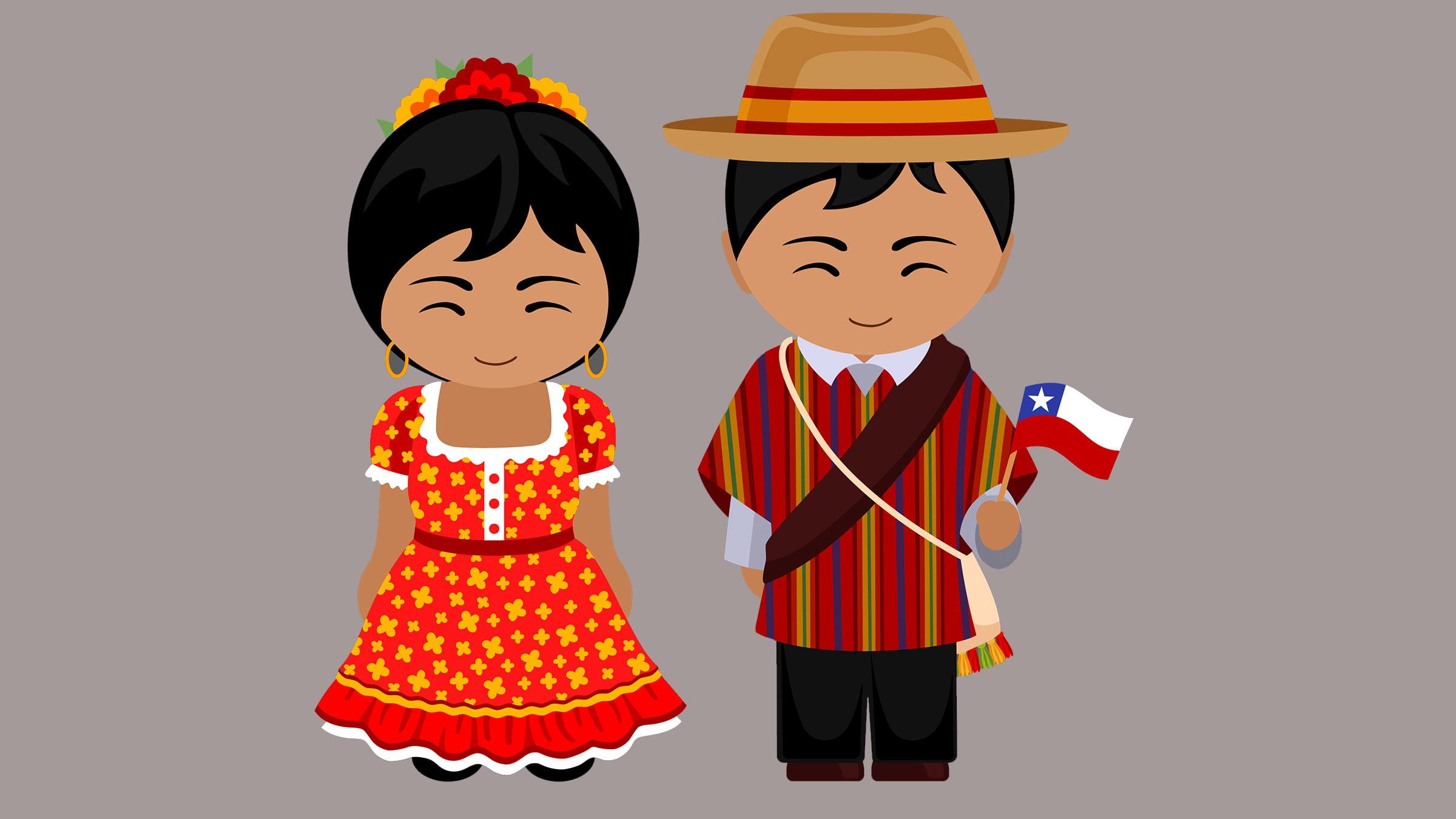 Dibujo de los trajes tpicos de Chile