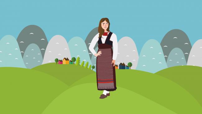 Dibujo de mujer con traje típico de Finlandia