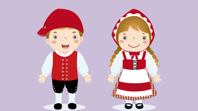 Dibujo de niños con traje típico de Dinamarca