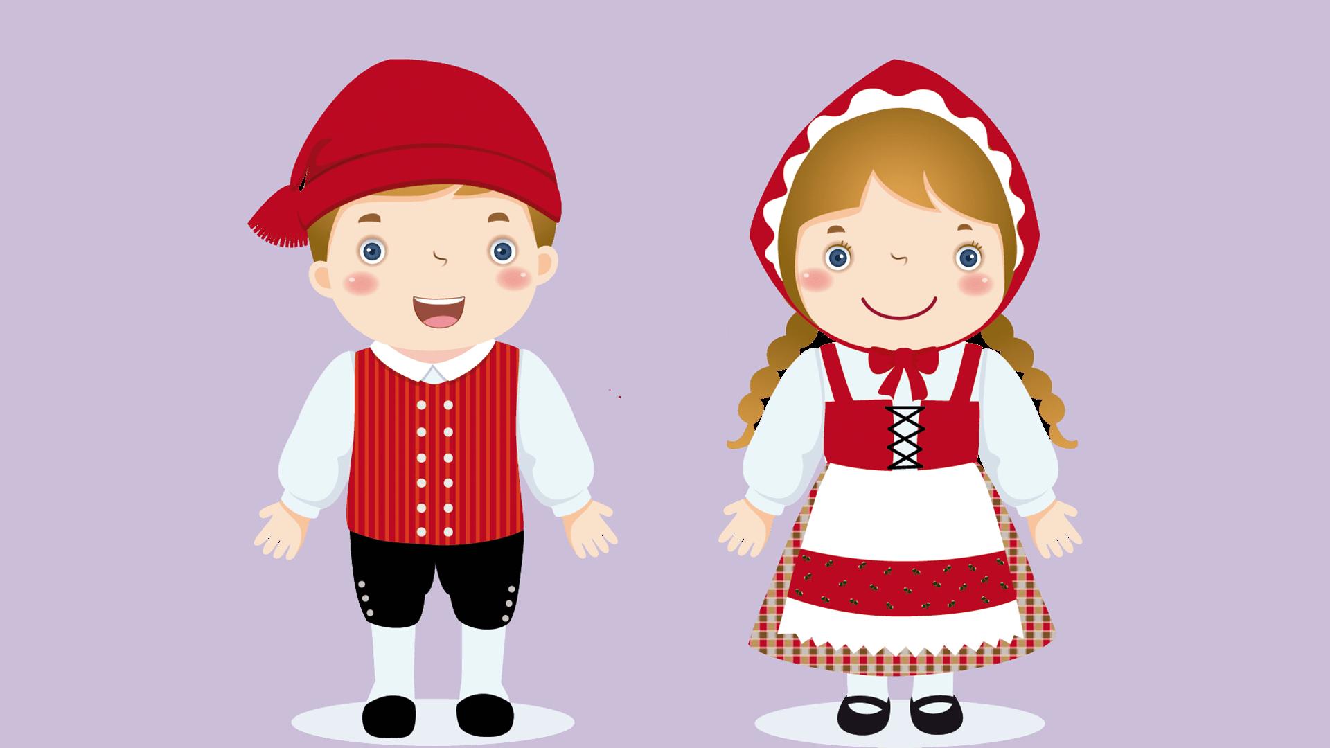 Dibujo de nios con traje tpico de Dinamarca