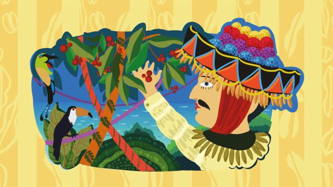 典型的なニカラグアの服を着た男の絵