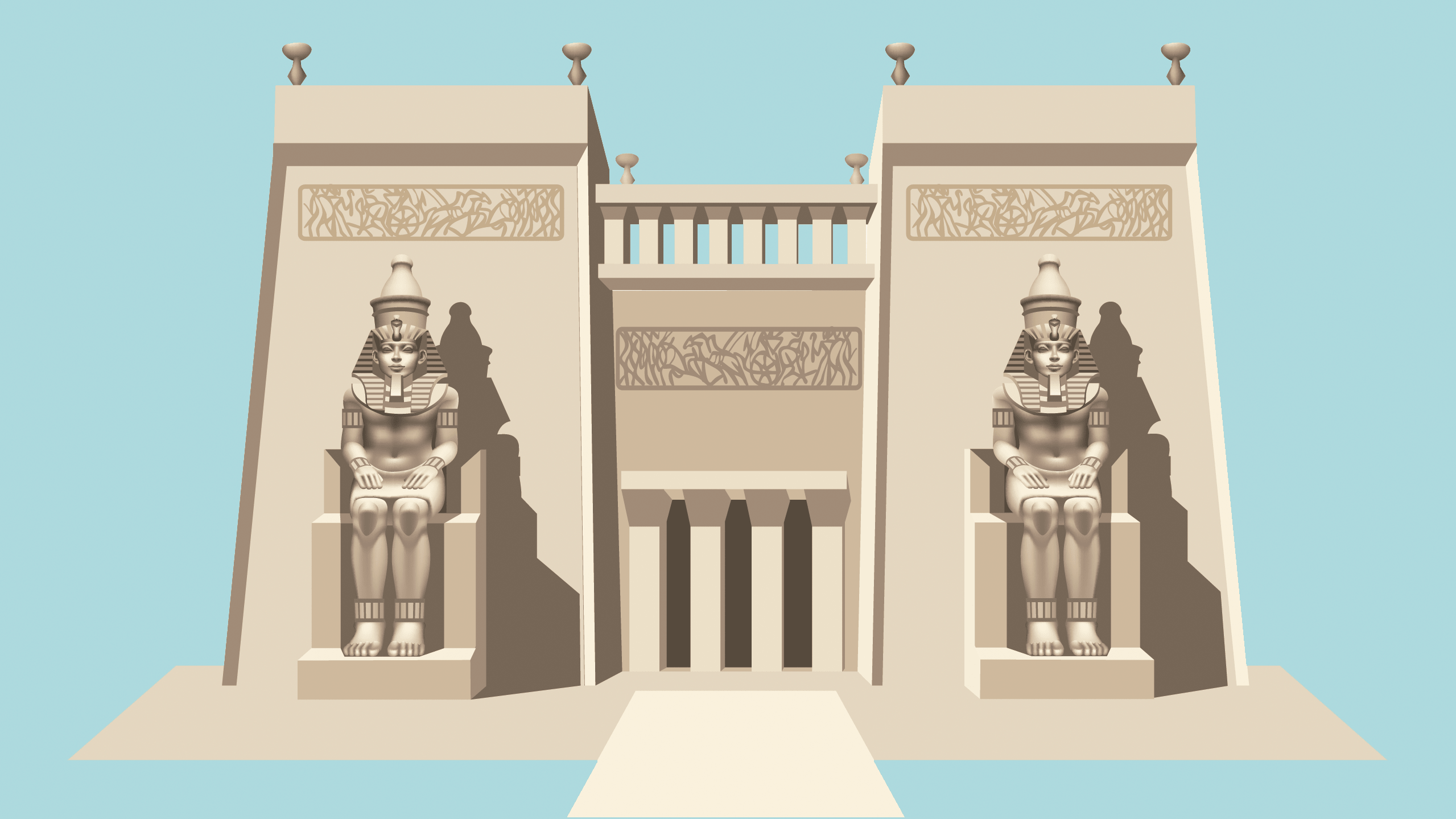 Dibujo de un templo egipcio