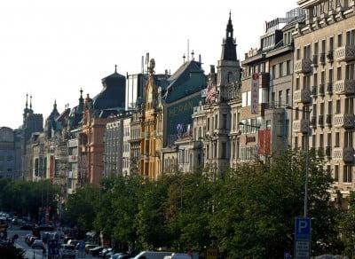 Edificios de la Plaza Wenceslao en Praga
